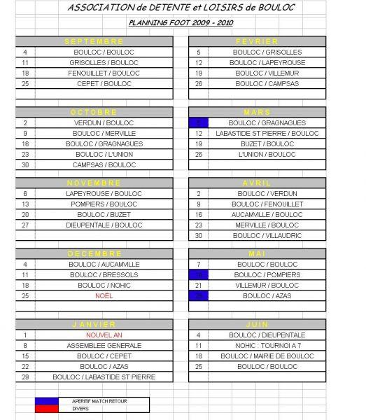 Planning des matchs 2009-2010
